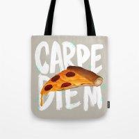 carpe diem Tote Bags featuring Carpe Diem by Vaughn Pinpin