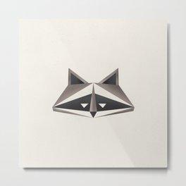 Raccoon Minimalist Face Metal Print