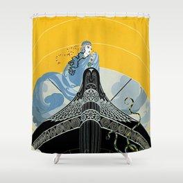 "Art Deco ""The Surprises of the Sea"" Shower Curtain"