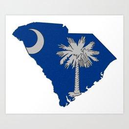 South Carolina Map with State Flag Art Print