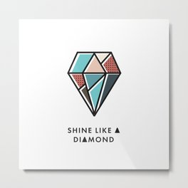 Geometric Diamond Pattern 8 - Shine like a diamond Metal Print