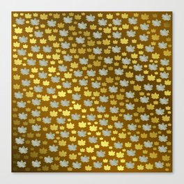gold, silver, metal shiny maple leaf on shimmering texture Canvas Print