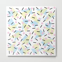 Funky Memphis Confetti Party Pattern Blue Pink Yellow Metal Print