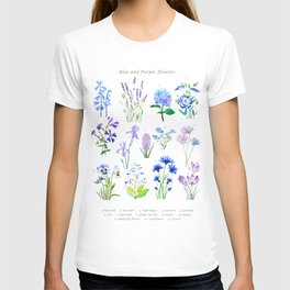 blue and purple flower collection watercolor T-shirt