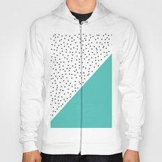 Geometric grey and turquoise design Hoody