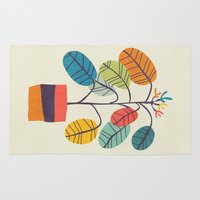 budi Area & Throw Rugs featuring Potted plant 2 by Picomodi