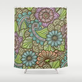 Gentle Pastel Flower Faux Leather Shower Curtain