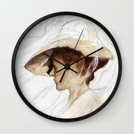 A Girl With A Hat Wall Clock