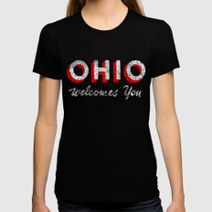 Vintage Ohio Welcome Sign Womens Fitted Tee LARGE Black