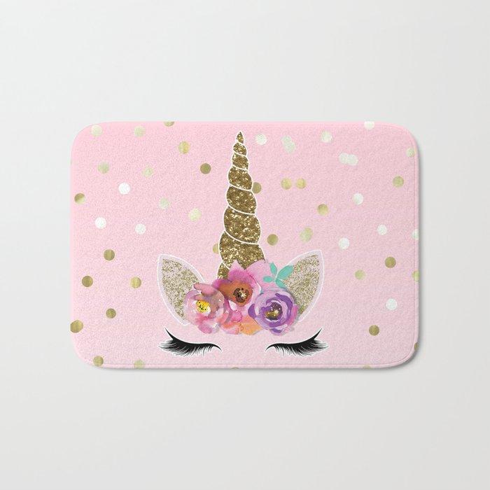 Floral Trendy Modern Unicorn Horn Gold Confetti Badematte