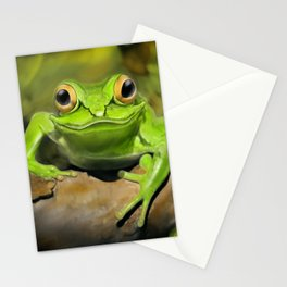 Little green frog Stationery Cards