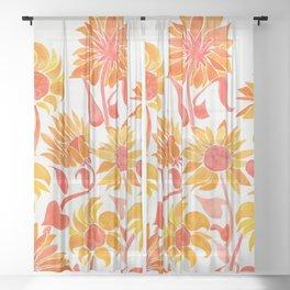 Sunflower Watercolor – Fiery Palette Sheer Curtain