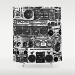 house of boombox Shower Curtain