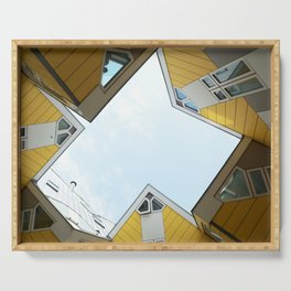 Yellow cube houses in Rotterdam Serving Tray