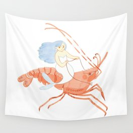 The Magnificent Shrimp Rider Wall Tapestry