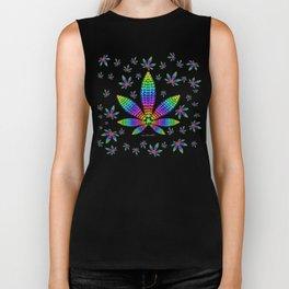 Rainbow Gems Cannabis Leaf Biker Tank