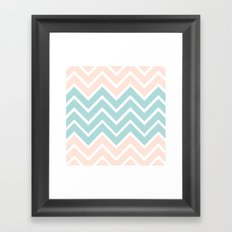PEACH & BLUE CHEVRON Framed Art Print