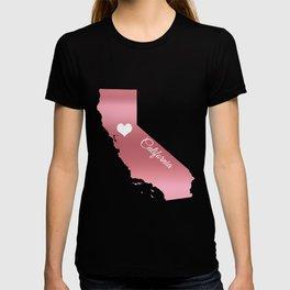 Rose Gold California Heart T-shirt
