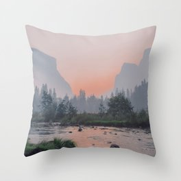 Yosemite Valley Sunrise Pretty Pink Throw Pillow