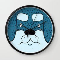 rottweiler Wall Clocks featuring ROTTWEILER by Flash Harrold