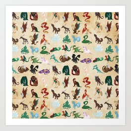 Mythical Creatures Pattern Art Print