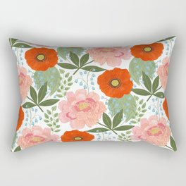Pions and Poppies Rectangular Pillow