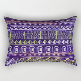 Watercolor and Silver Tribal Pattern on Purple Rectangular Pillow