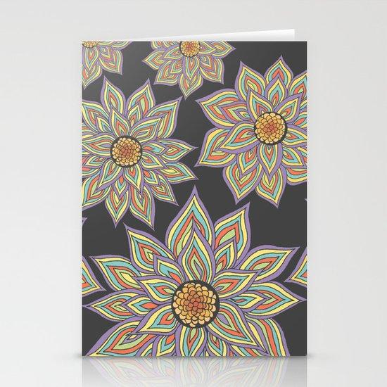Floral Rhythm In The Dark Stationery Cards
