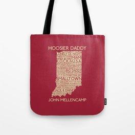 Hoosier Daddy, John Mellencamp, Indiana map art Tote Bag