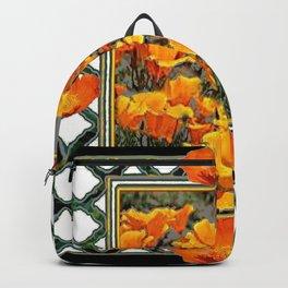 GOLDEN CALIFORNIA POPPY GARDEN BLACK LATTICE ART Backpack