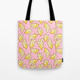 Cute Anime Kitten Illustration Cats in Bananas Fruit Pattern Tote Bag