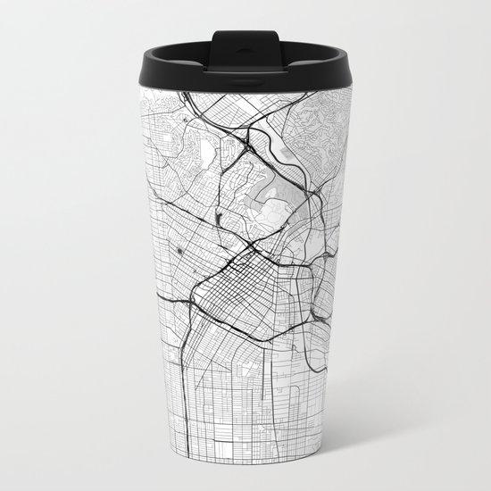 Los Angeles Map Gray Metal Travel Mug