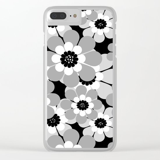 The floral pattern . black, grey , white . Clear iPhone Case