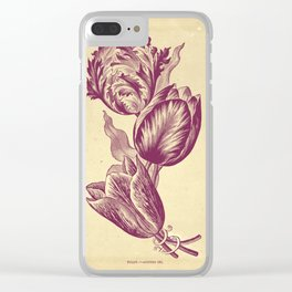 Vintage Tulips Purple Tint Clear iPhone Case