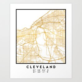 CLEVELAND OHIO CITY STREET MAP ART Art Print