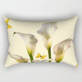 Ivory Calla Lilies Yellow Butterflies Rectangular Pillow