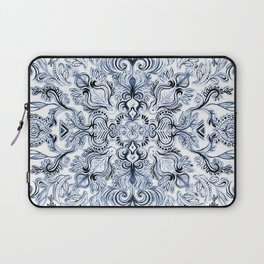 Indigo, Navy Blue and White Calligraphy Doodle Pattern Laptop Sleeve