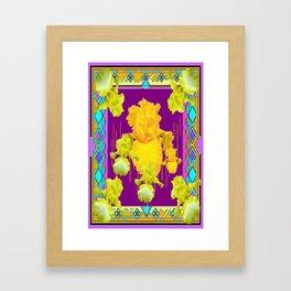 Golden-Yellow Iris Garden Modern  Purple Abstract Framed Art Print