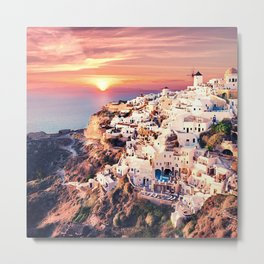 Santorini Sunset View Metal Print