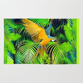 BLUE & GOLD MACAW JUNGLE  ART DESIGN Rug