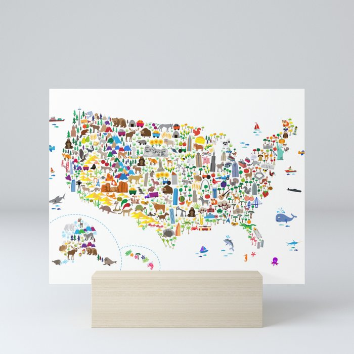 Animal Map of United States for children and kids Mini Art Print by artpause