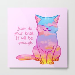 """""""Your Best is Enough"""" Sunset Cat Metal Print"""