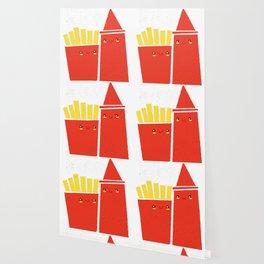 Ketchup and fries give me a kiss Wallpaper