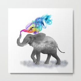 Colorful Smoky Clouded Elephant Metal Print