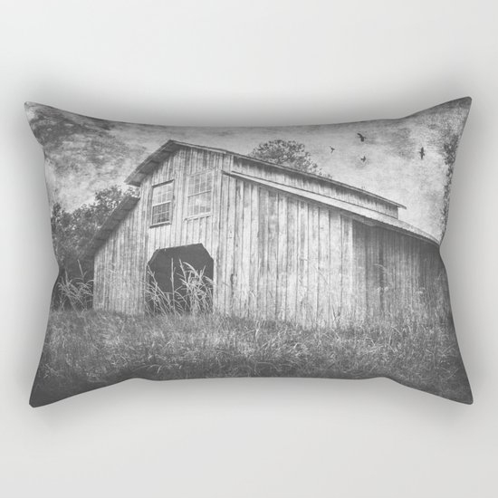 Country Barn B&W Rectangular Pillow