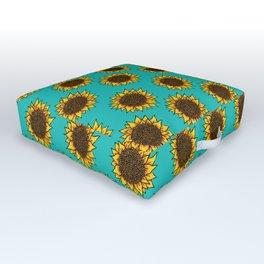 Aqua Sunflowers Outdoor Floor Cushion