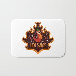 Skull Hot Sauce pepper Bath Mat