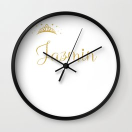 Queens Are Named Jazmin Personalized First Name Girl design Wall Clock
