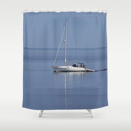 Sailboat Motors up the River Shower Curtain