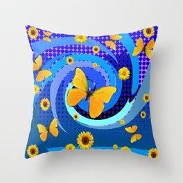 BLUE MATING SEASON YELLOW BUTTERFLIES Throw Pillow
